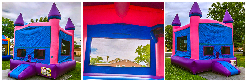 13x13 Pink Castle Banner with Basketball Hoop Bounce House Jumper