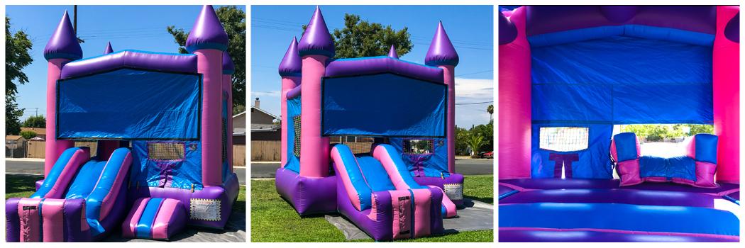 15x24 2 in 1 Pink Castle Banner Jumper