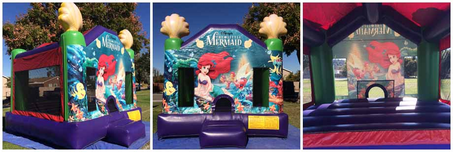 little mermaid theme inflatable bounce house for rent