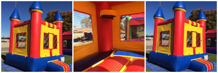 blue and yellow castle mini bounce house for rent