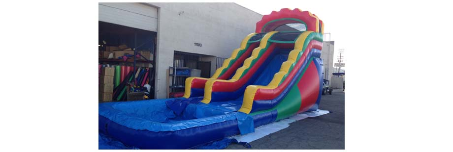 18 foot multicolor inflatable water slide for rent