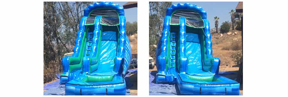 blue green wave inflatable water slide for rent