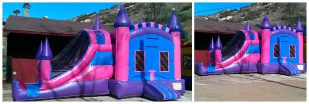 pink children's jump castle