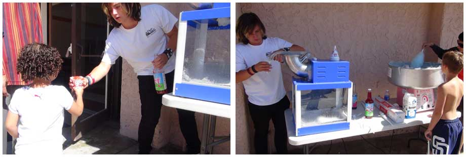 teen man using snow cone machine and giving kids snow cones